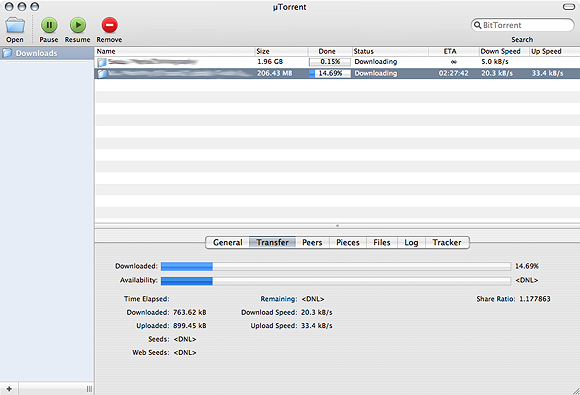 µTorrents huvudfönster