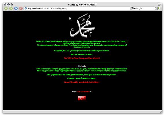 Microsofts hackade hemsida